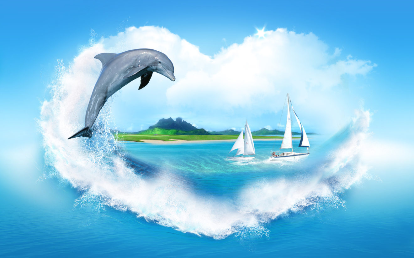 море и дельфин